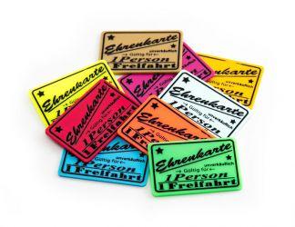 Wertchip 60 x 40 mm mit Standardtexten Fahrchips   Ehrenkarte Gültig für 1 Eintritt- nicht zurückzahlbar