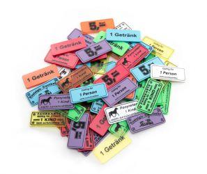 Wertchip 57 x 26 mm mit Standardtexten Fahrchips   Fahrkarte 1 Fahrt - 1 Person - nicht zurückzahlbar
