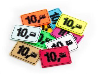 Wertchip 60 x 40 mm mit Standardtexten Werte | Wert 10,-