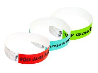 Tyvek®-VIP-Band - mit individuellem 1-FARBIGEN Aufdruck/Design (Verpackungseinheit = 10 Stück)